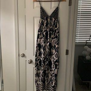 Black and cream pattern maxi dress